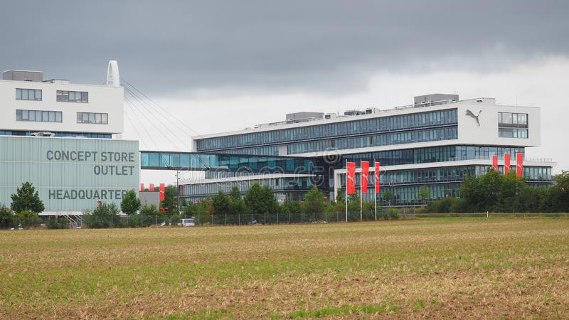 Herzogenaurach, Germany - August 19, 2019:  Headquarter of global sports brand Puma in the village of Herzogenaurach. The headquarter of global sports brand Puma royalty free stock images