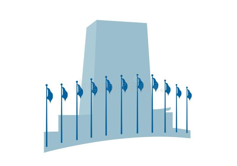 headquarters den nationer förenade vektorn stock illustrationer