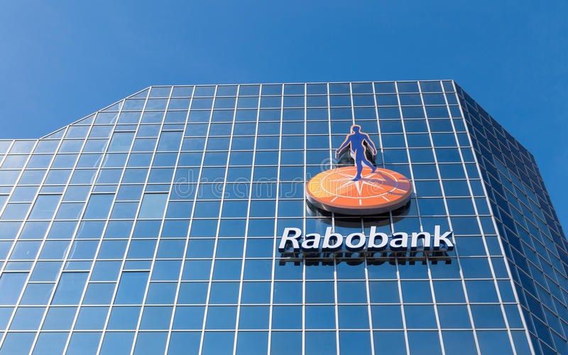 Headquarters of dutch bank. Logo on the rabobank headquarters building in utrecht, netherlands. Rabobank is a Dutch bank, consisting of 136 (2013) independent royalty free stock images