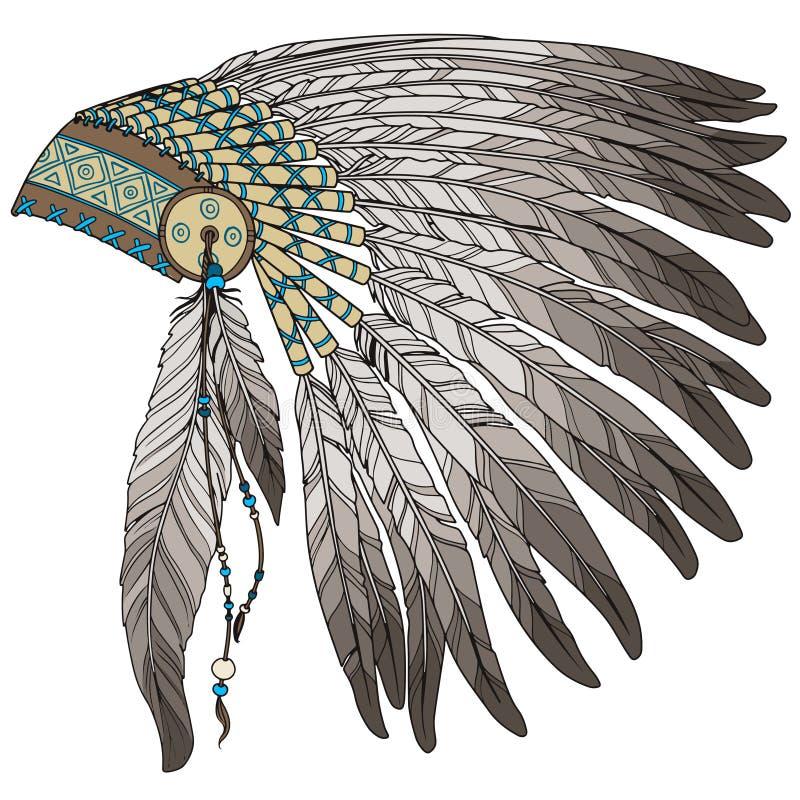 Headress индийского вождя коренного американца иллюстрация штока