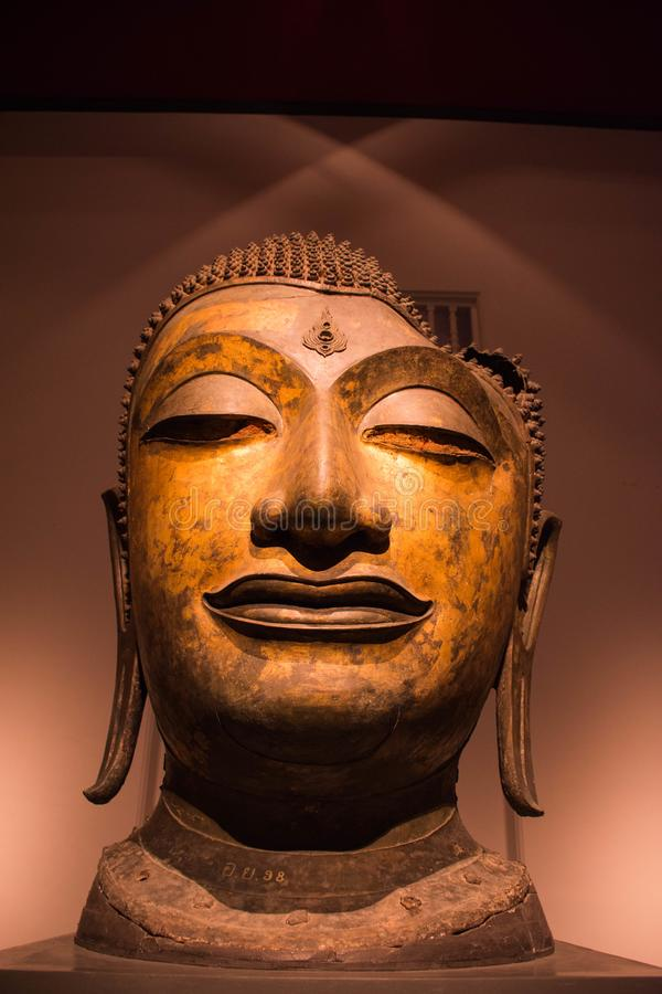 Heads of Buddha of thailand national museum. royalty free stock photography