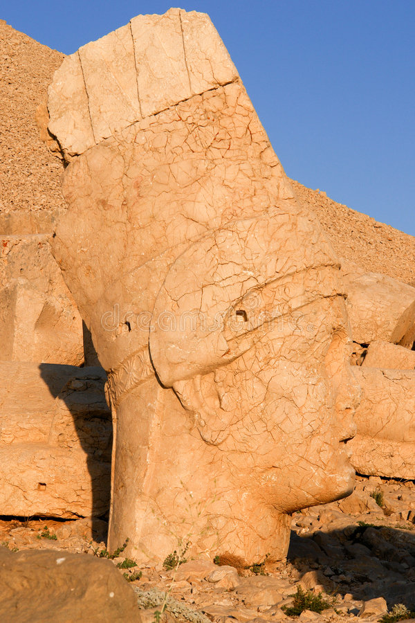 Heads of the colossal statues on Mount Nemrut. In Turkey stock image