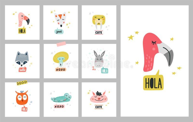 Heads of cute animals vector illustrations stock illustration