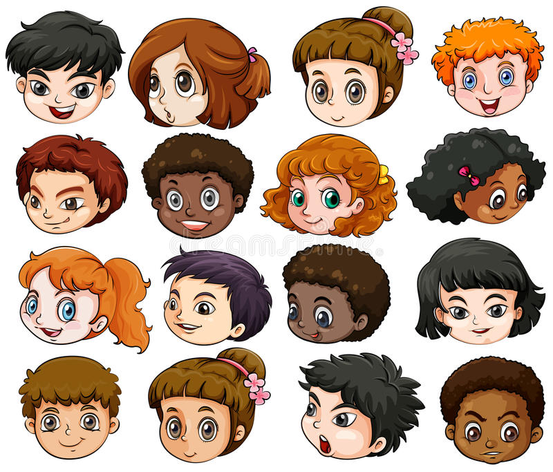 Heads of different people stock illustration