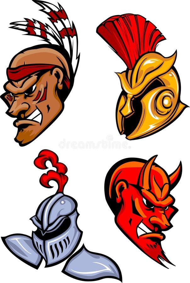heads maskotvektorn stock illustrationer