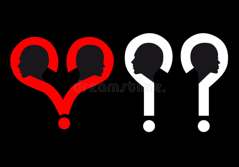Heads in question mark, vector stock illustration
