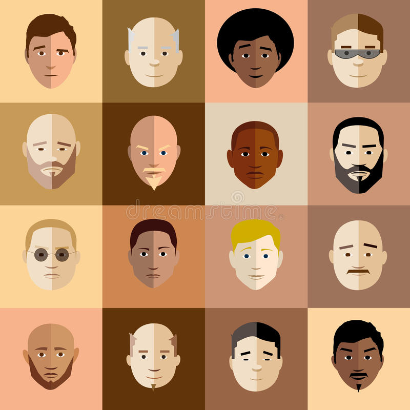 Heads set. Illustrated vector man head set in retro style royalty free illustration