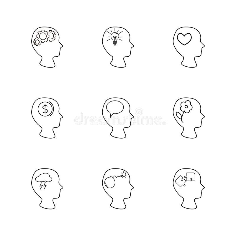 Heads set, thinking, different thing inside head. Artificial Intelligence, heads set, thinking, different thing inside head vector illustration