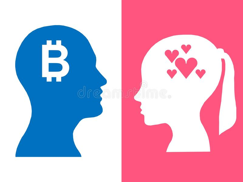 Heads of two people, abstract brain for concept bitcoin love royalty free illustration