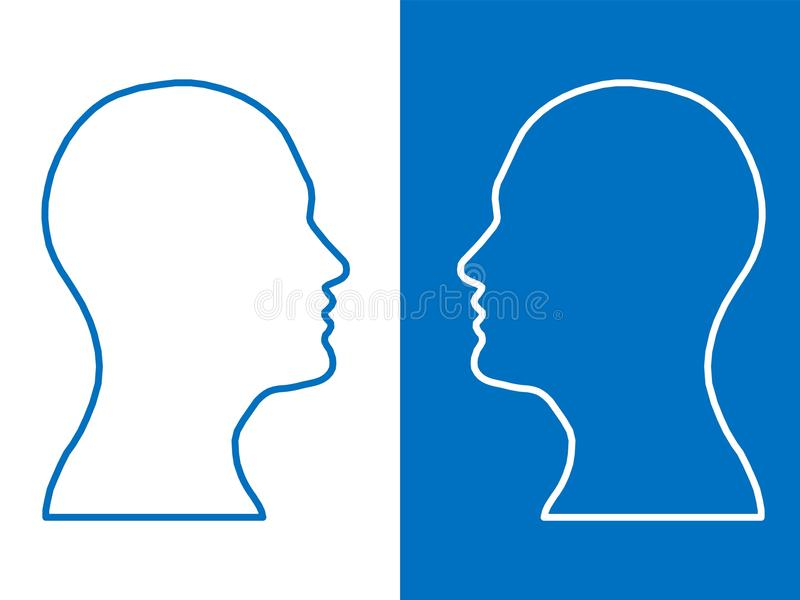 Heads of two people, abstract brain for concept idea royalty free illustration