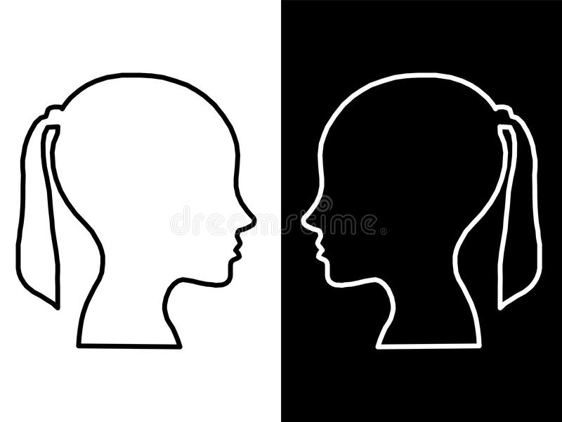 Heads of two people, woman and man, abstract brain for concept idea vector illustration