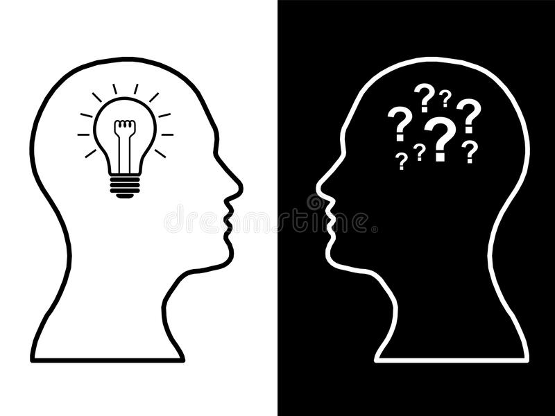 Heads of two people, brainstorming concept gear question stock illustration