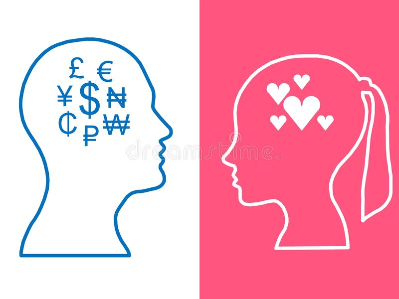Heads of two people, woman and man, abstract brain for concept love money stock illustration