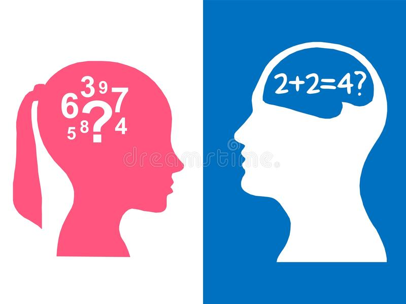 Heads of two people, woman and man, brainstorming concept math question, stock illustration