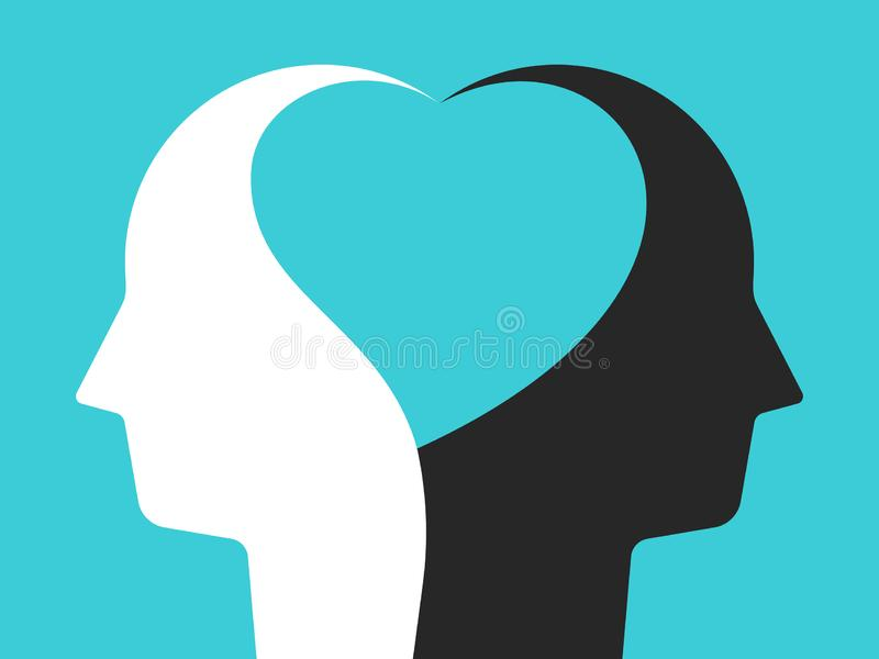 Heads united by heart vector illustration