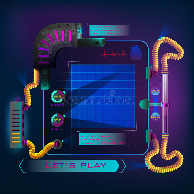 Heads-Up Display. Technology interface. HUD futuristic game. HUD futuristic game display. Heads-Up Display. Technology interface. Map coordinates grid. Game ui vector illustration