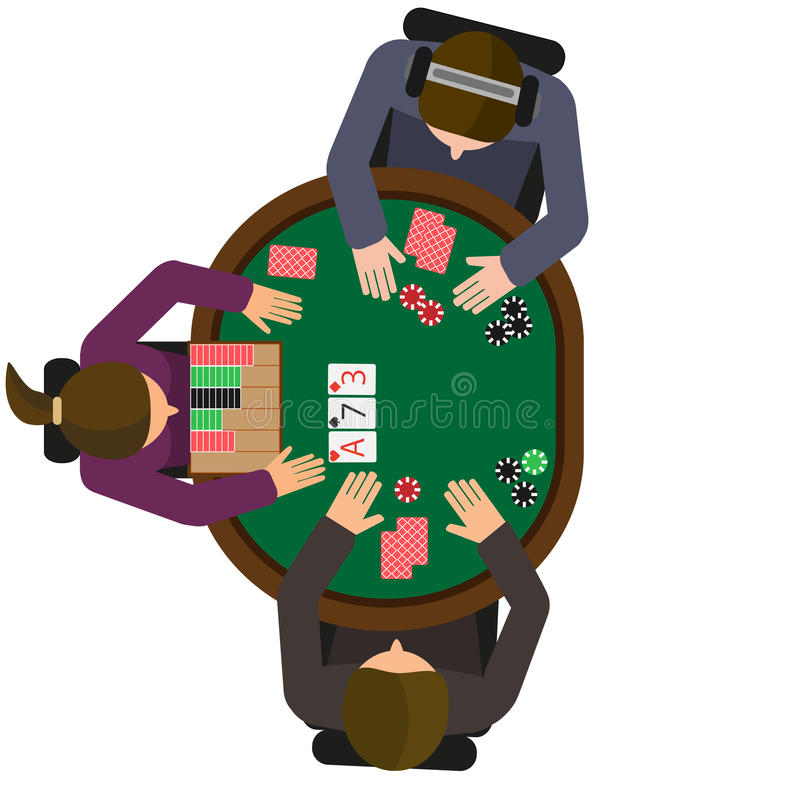 Heads Up hold'em poker match. Two players and dealer royalty free illustration