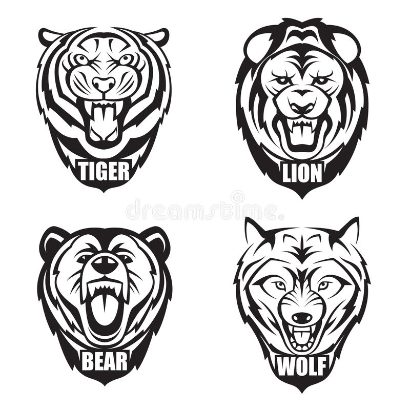 Heads of wild animals vector illustration