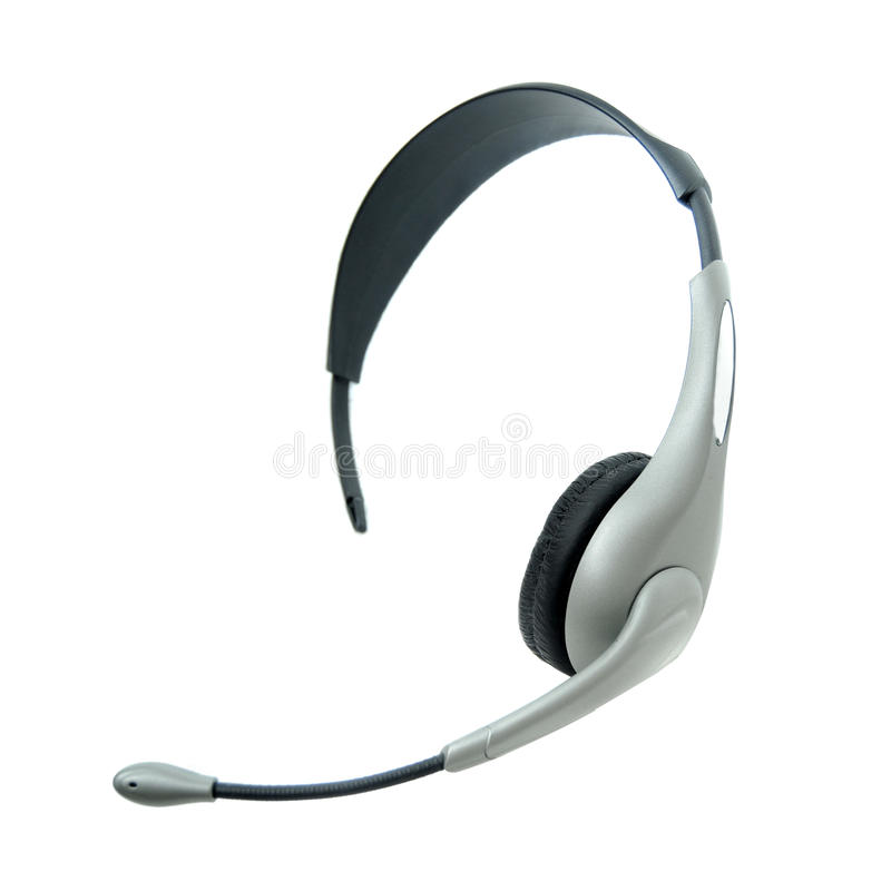 Headset. Standard headset with microphone end in front and ear listening side in ear. Isolated on white background