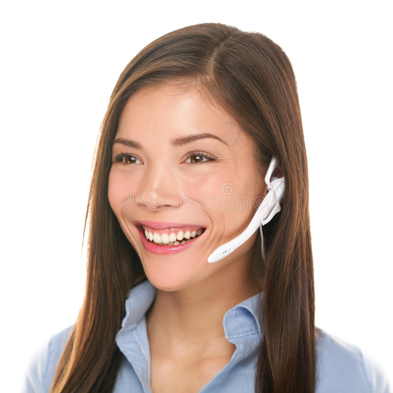 Free Headset Customer Service Woman Talking Friendly Royalty Free Stock Photography - 32323797