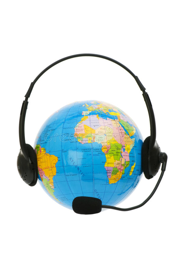 Download Headset on globe isolated stock photo. Image of shape - 10906422