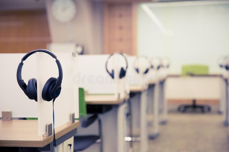 Headset for Hotline and Call center room stock photography