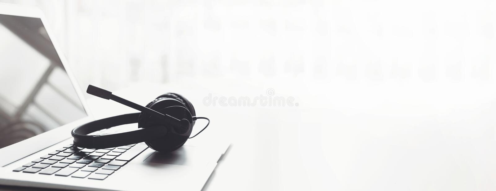 Headset, hotline support concept in office royalty free stock photos