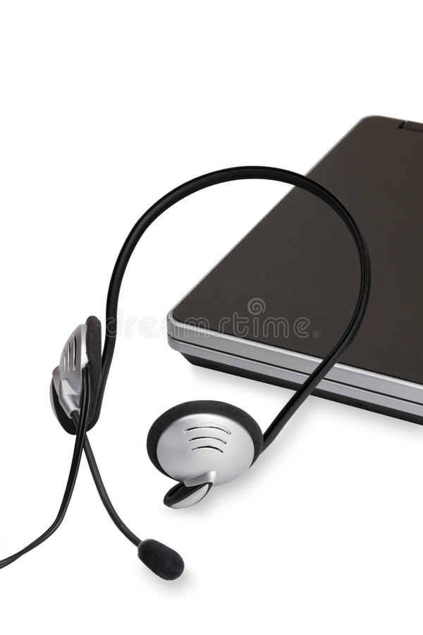 Download Headset and laptop stock photo. Image of black, earphone - 18028204