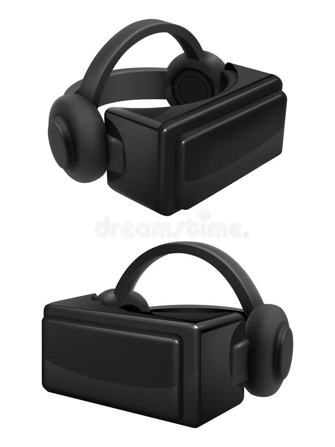 Headset and stereoscopic virtual reality goggles vector. Realistic vr glasses and headphones isolated on white royalty free illustration