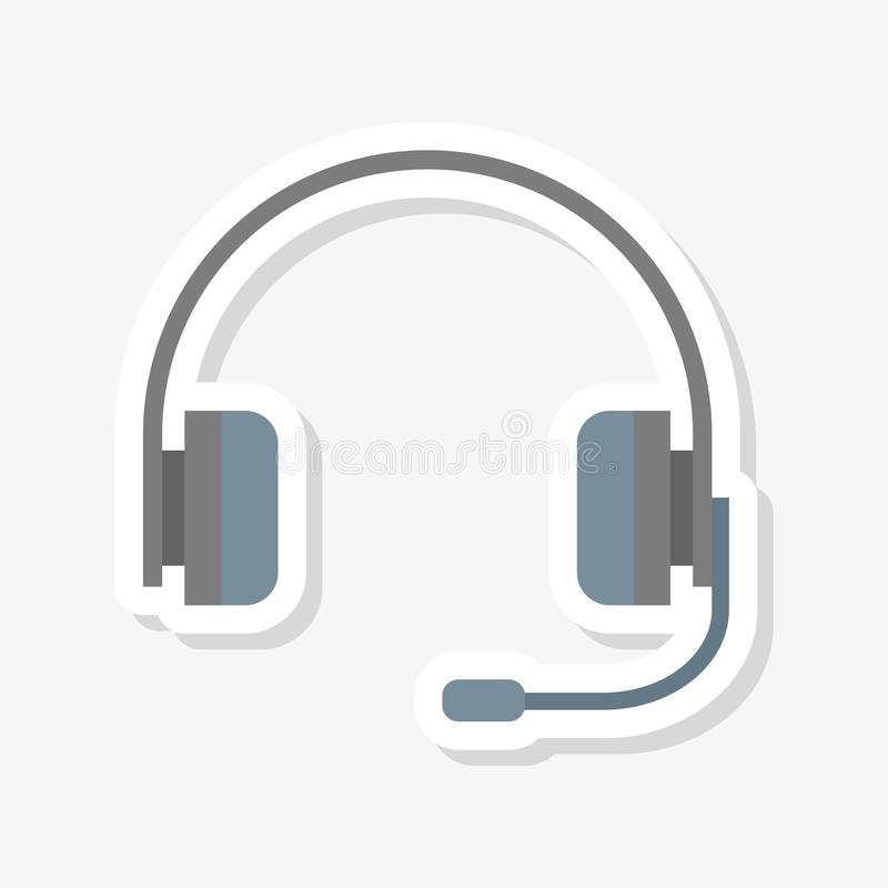 Headset sticker, Headphone vector illustration