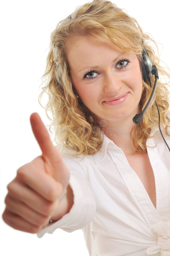 Headset woman. Young beautiful business woman with headset phone help customer solution info service royalty free stock images