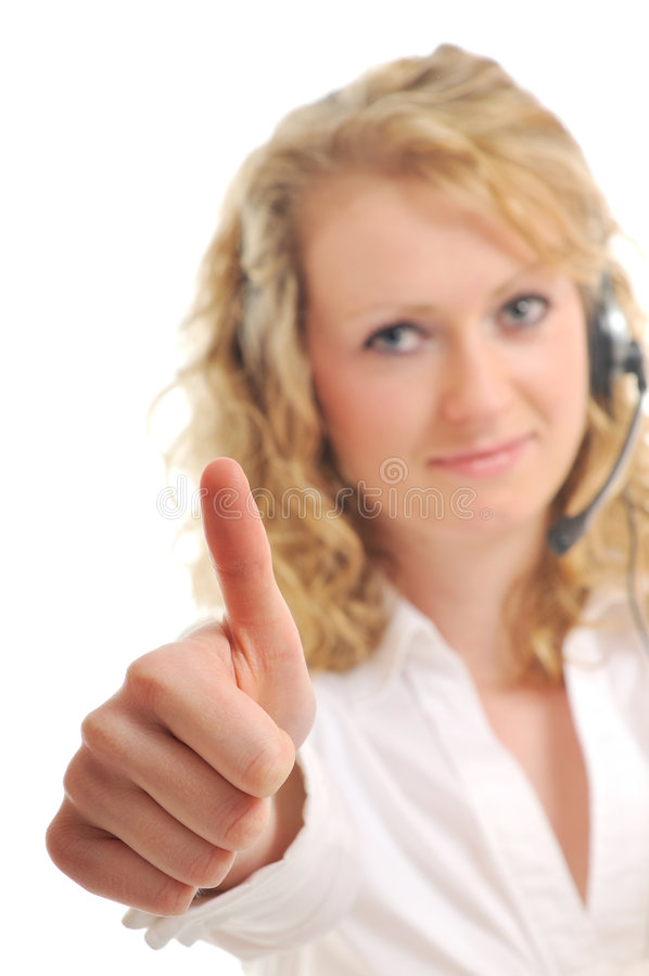 Headset woman. Young beautiful business woman with headset phone help customer solution info service stock photos