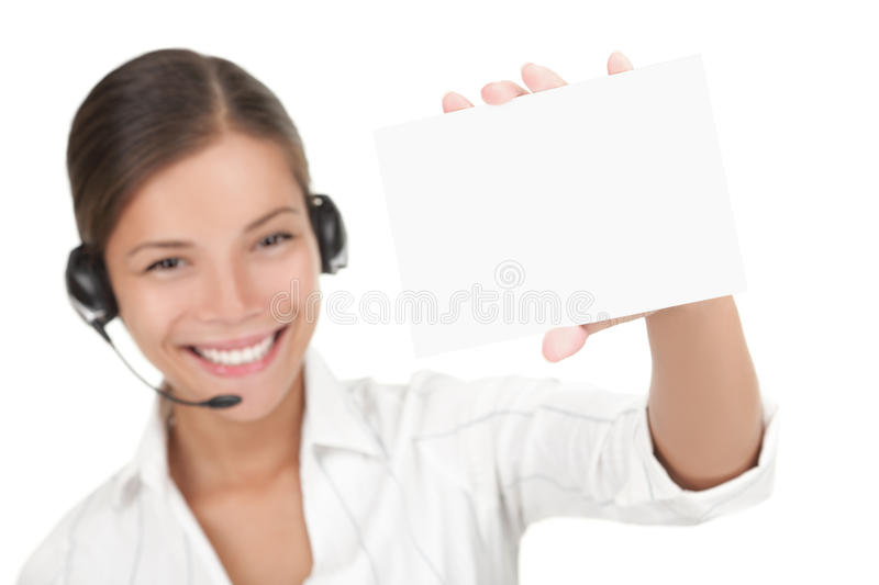 Download Headset woman holding sign stock image. Image of isolated - 15190143