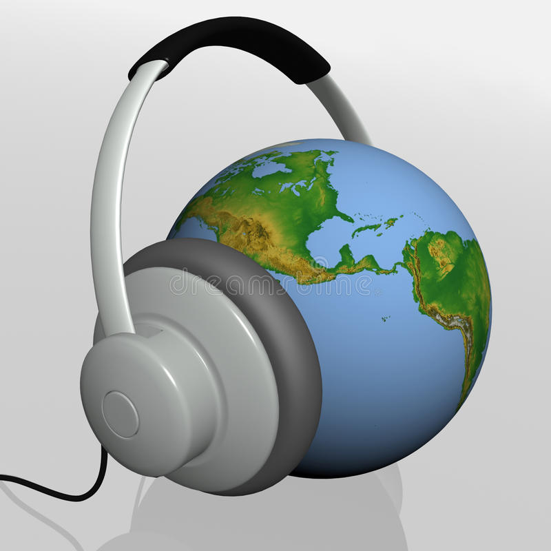 Download Headset on world globe stock illustration. Image of phone - 20533723