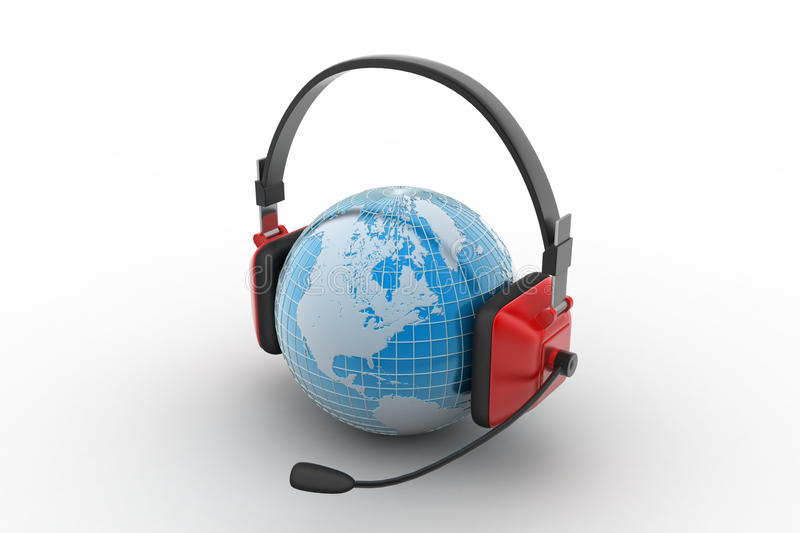 Headset with world globe. Concept for online chat stock illustration
