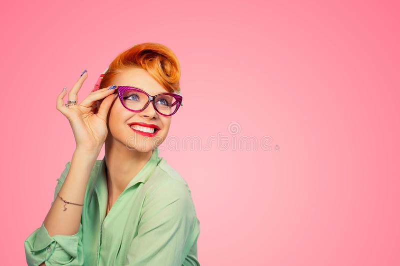 Headshot Attractive Young Woman With Glasses royalty free stock photography