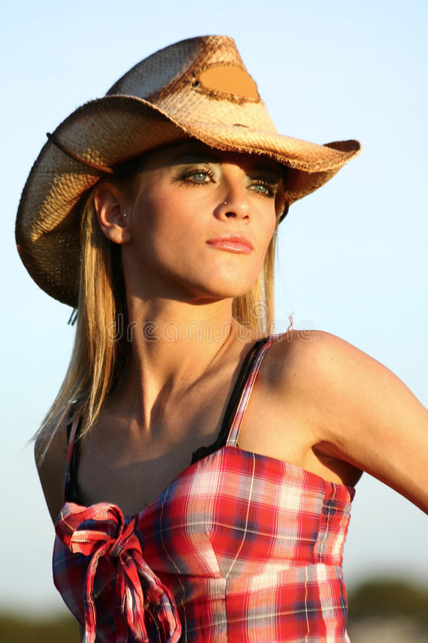 Headshot of a Beautiful Cowgirl royalty free stock image