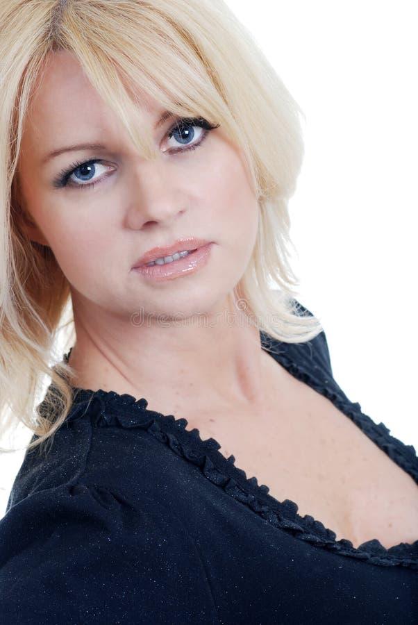 Headshot biondo invecchiato centrale sexy della donna fotografia stock