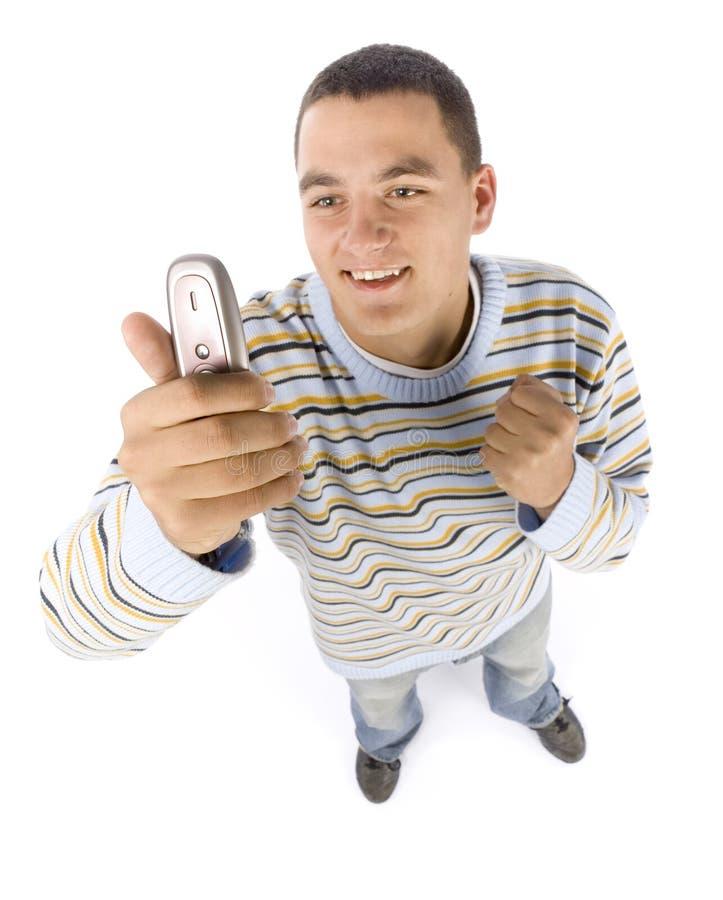 Headshot del giovane con il telefono mobile immagini stock libere da diritti