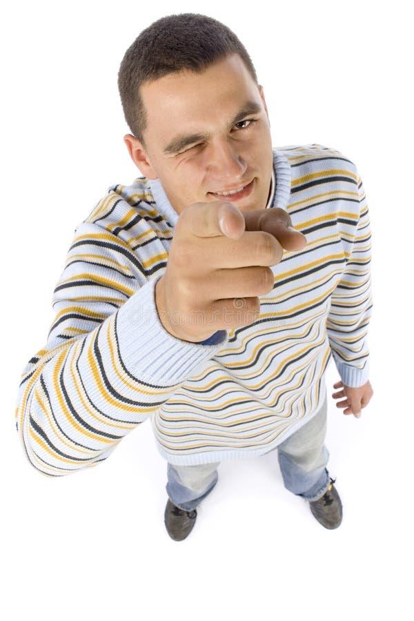Headshot dell'uomo che indica dalla barretta fotografie stock