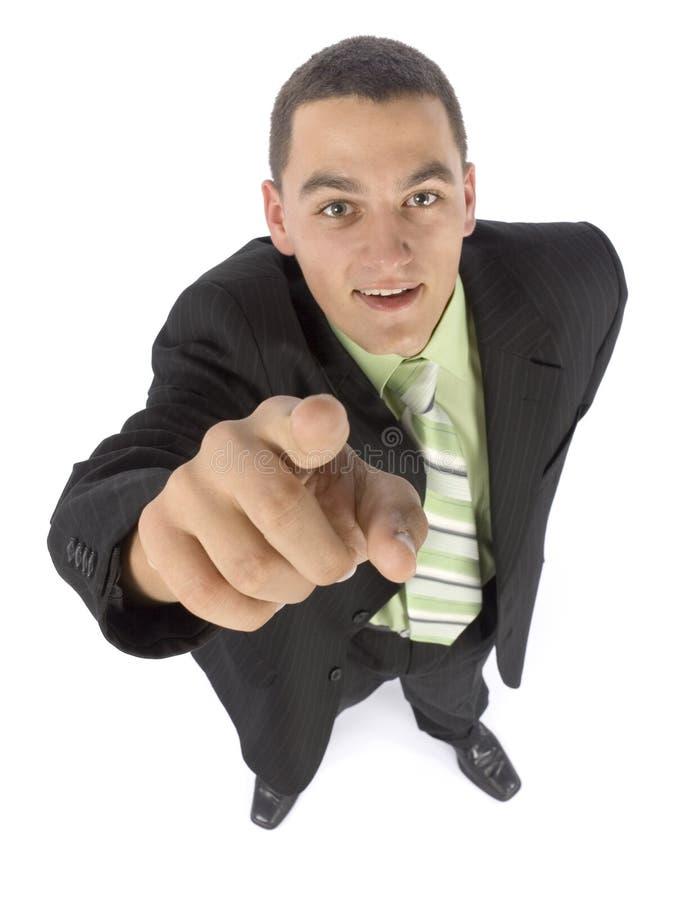 Headshot dell'uomo d'affari che indica dalla barretta immagini stock