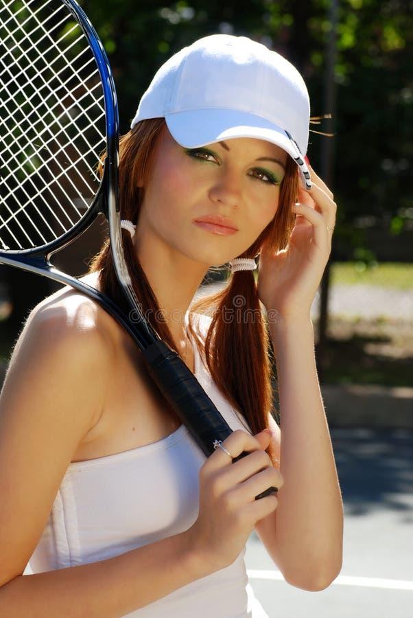 Headshot di voi giocatore di tennis della donna fotografia stock