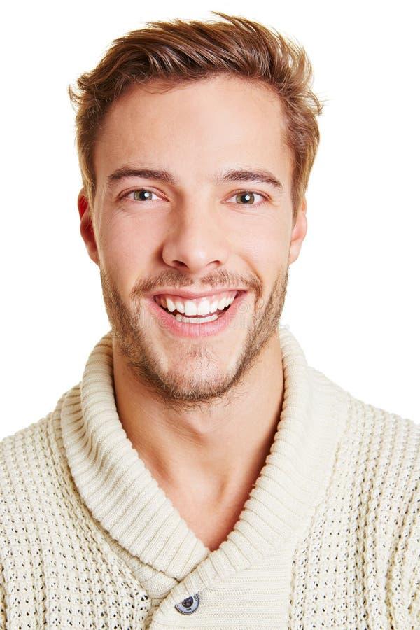 Headshot of happy man stock photo