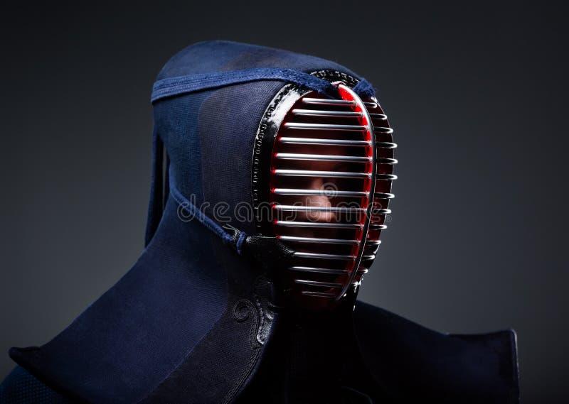 Headshot of kendoka in men stock photography