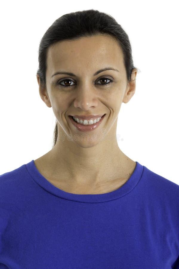 Headshot: Lycklig nätt kvinna arkivfoto