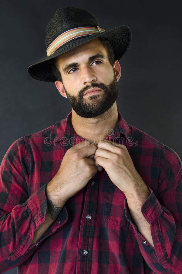 Download Headshot Of A Man With Beard And Hat Stock Image - Image: 35490571