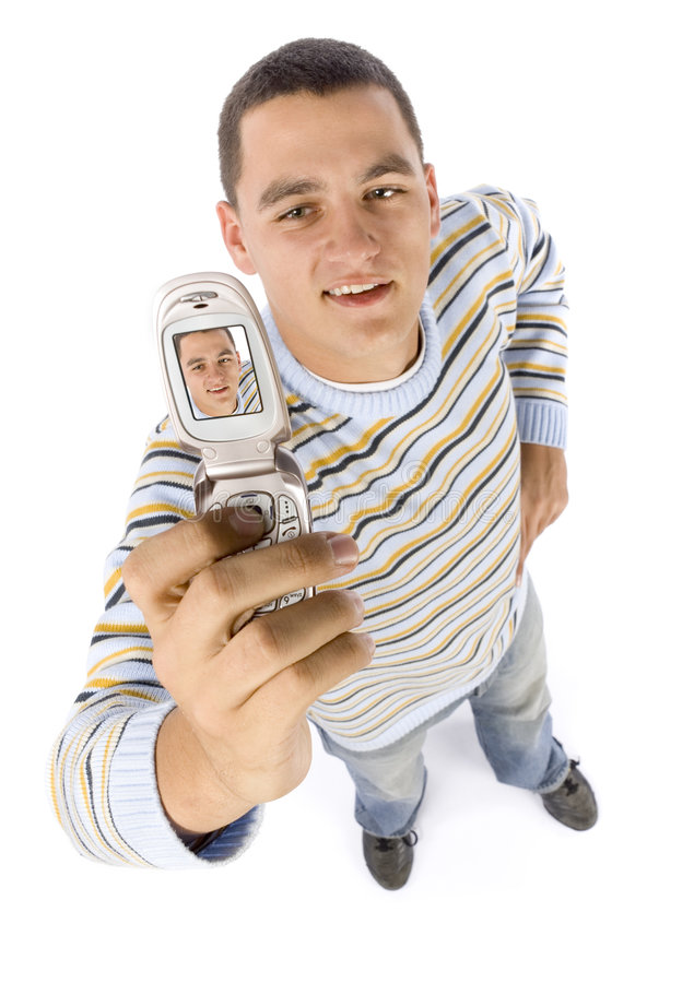 Download Headshot Of Man Making Picture By Mobile Phone Stock Photo - Image: 1383512