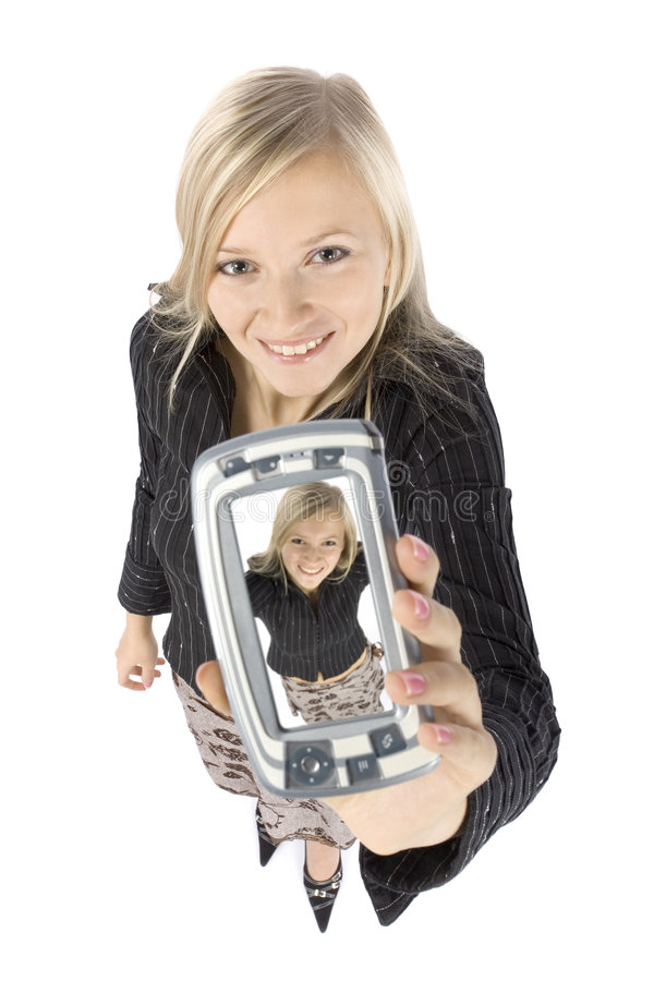 Free Headshot Of Young Blonde Woman With Palmtop Royalty Free Stock Images - 1570619