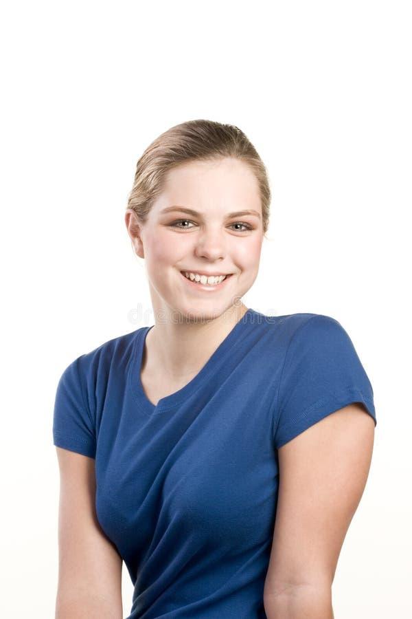 Headshot Portrait der Jugendlichen in der blauen Bluse lizenzfreies stockbild
