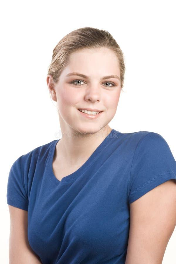 Headshot Portrait der Jugendlichen in der blauen Bluse stockbild